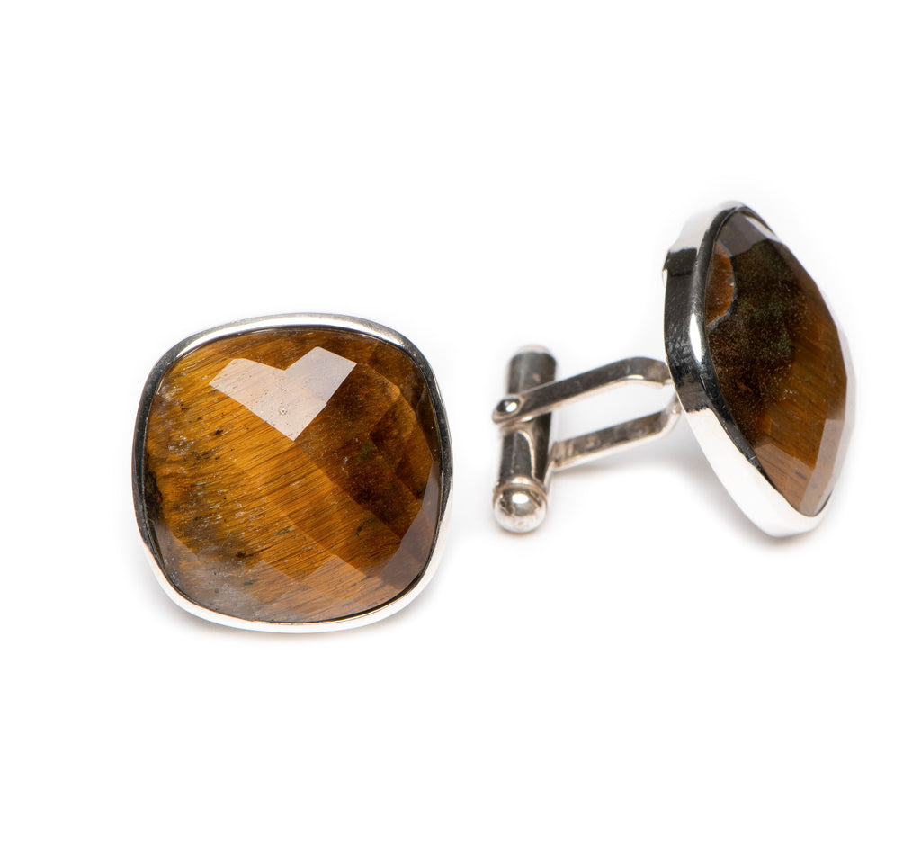 Faceted 20mm Square Tiger's Eye