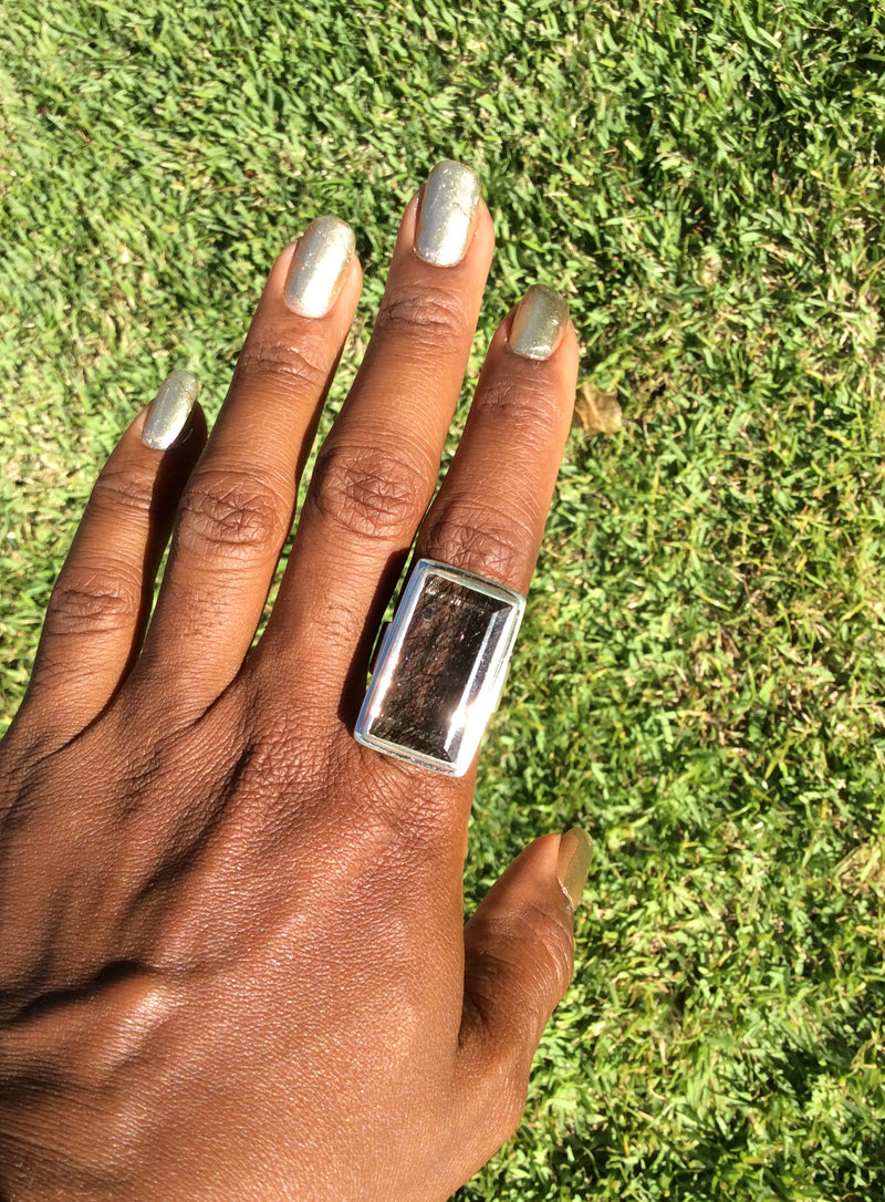 Modern Rectangular Tourmalated Quartz Statement Ring