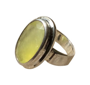 Prehnite Yellow Statement Ring
