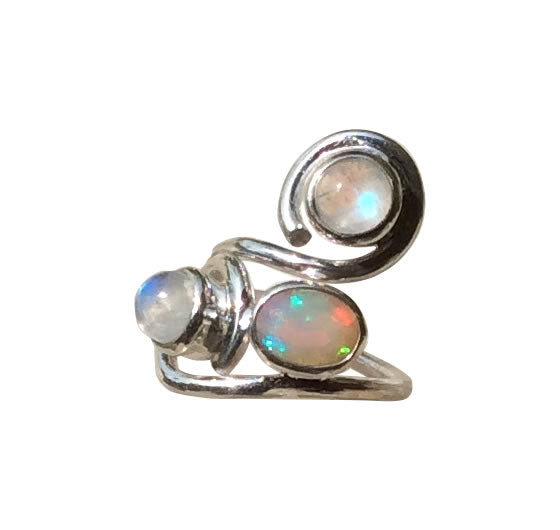 The S Ring Opal and Moonstone Adjustable