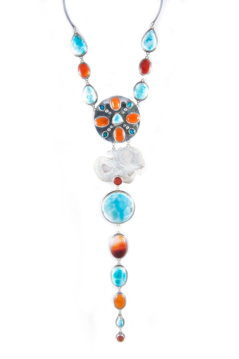 Yasha Dragon Fire Chakra in Larimar, Carnelian and Opal