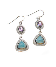 A Sparkling Framed Larimar Amethyst Dangle