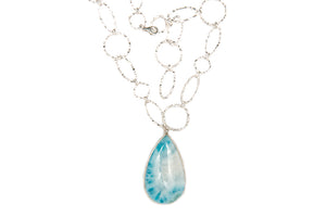 Larimar Drop with Textured Asym Chain-Sold