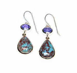 Oval Tanzanite and Cabernet Larimar
