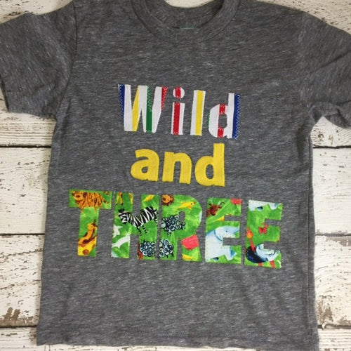Wild one THREE shirt, wild and free party, customized for any birthday decor colors etc