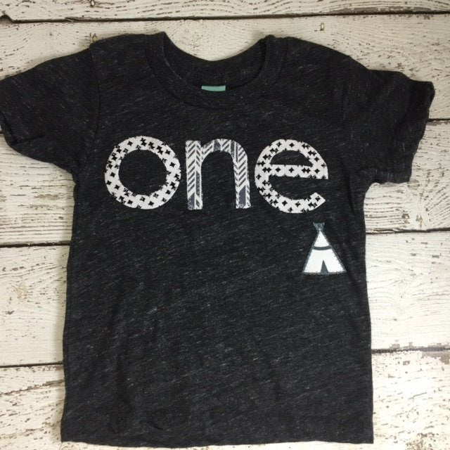 Tribal party, geometric print birthday tee, teepee party