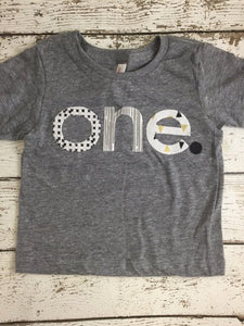 one simple heathered Birthday Tee black and white, grey, gold