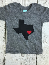 Load image into Gallery viewer, State shirt Home is where the heart is tee select your state and where heart should be placed children's tee baby present organic blend