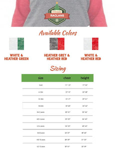 Christmas tree shirt, raglan shirt, Children's holiday shirt
