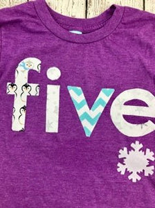 snowflake shirt, purple and teal, frozen
