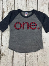Load image into Gallery viewer, First birthday shirt, buffalo plaid, baseball shirt