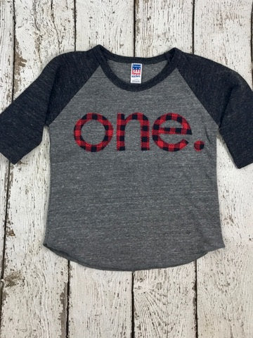 First birthday shirt, buffalo plaid, baseball shirt