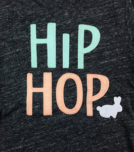 Hip Hop Easter Bunny Shirt Mint and Peach and White, Easter t-shirt for children, Matching easter outfits for family