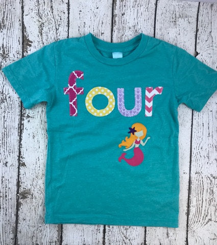 Mermaid Birthday Shirt, Girls Mermaid Birthday, Little Mermaid Birthday