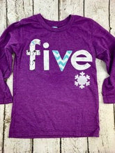 Load image into Gallery viewer, snowflake shirt, purple and teal, frozen