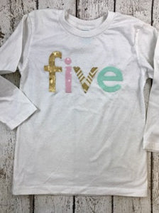 Girl's birthday shirt, mint and gold, girl's birthday outfit