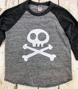 Skull and Crossbones shirt, baseball shirt, pirate