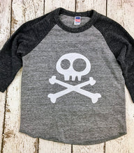 Load image into Gallery viewer, Skull and Crossbones shirt, baseball shirt, pirate