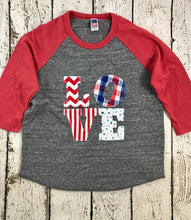 Load image into Gallery viewer, Fourth of July Childrens Shirt Organic blend tee red white and blue USA shirt American Flag