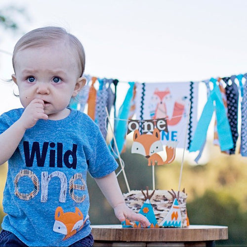 Wild One Birthday Boy Fox Shirt