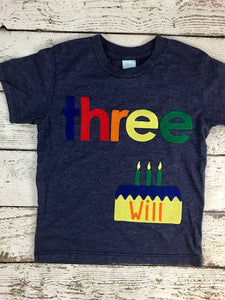 Children's birthday shirt, boy's birthday shirt, birthday cake shirt