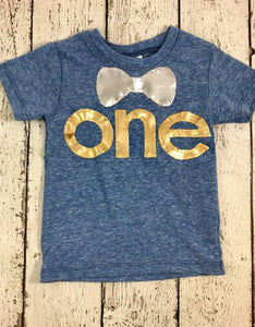 Little man party, golden birthday, Bow Tie shirt