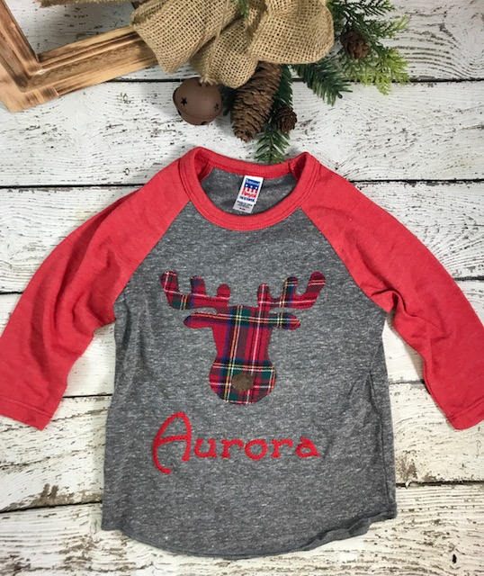 Holiday moose shirt, moose outfit, plaid Christmas
