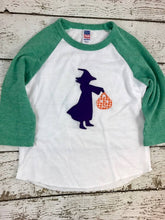 Load image into Gallery viewer, Girl's Halloween Shirt, girl's witch shirt, witch costume