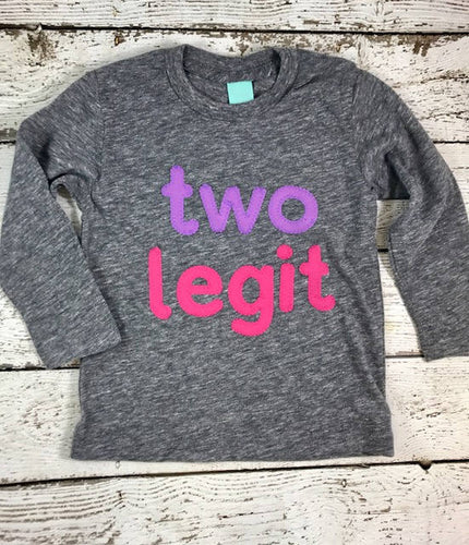 girl's second birthday shirt, two legit shirt, 2nd birthday outfit