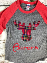 Load image into Gallery viewer, Holiday moose shirt, moose outfit, plaid Christmas