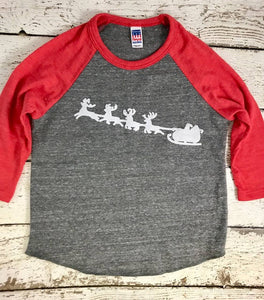 Santa's sleigh shirt, Santa shirt, holiday shirt