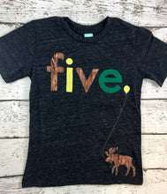 Load image into Gallery viewer, Boys moose shirt, moose birthday shirt, woodland animal party shirt