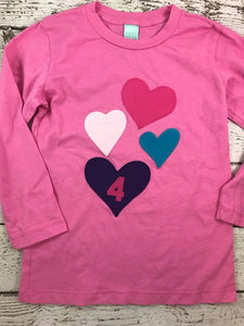 heart shirt, girly birthday shirt, heart tee