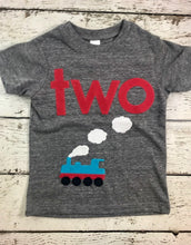 Load image into Gallery viewer, Train Party Train Birthday shirt Train shirt Vintage train steam train smoke puffs choo choo i'm 2 train birthday outfit train tee