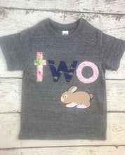 Load image into Gallery viewer, Bunny shirt, bunny birthday shirt, Girl's Birthday Shirt