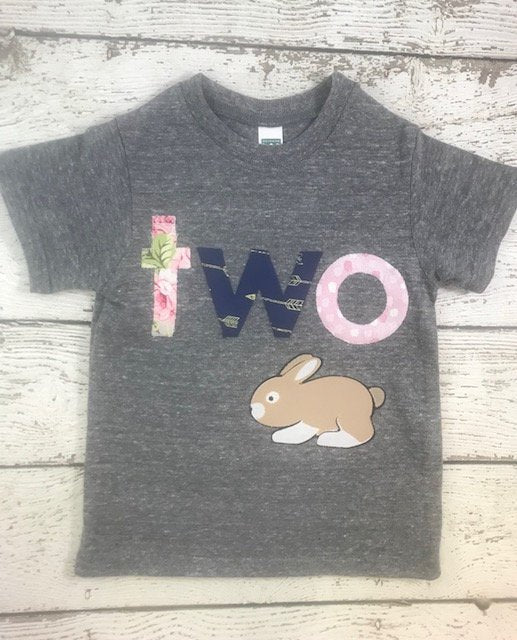 Bunny shirt, bunny birthday shirt, Girl's Birthday Shirt