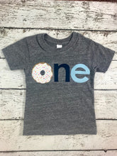 Load image into Gallery viewer, Donut party shirt custom children's tshirt for boy or girl sprinkles and donut tee can be created for any birthday