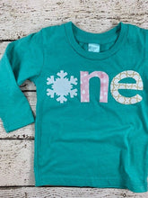 Load image into Gallery viewer, girls snowflake birthday shirt, WinterOnederland party, onederland party