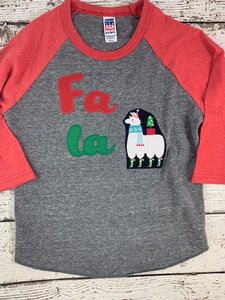 Christmas shirt for kids, christmas llama shirt, fa la la llama shirt