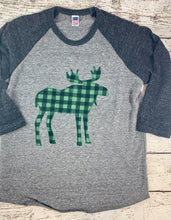 Load image into Gallery viewer, Buffalo plaid shirt for kids, moose outfit, plaid moose