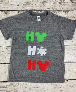 Children's Christmas shirt Children's personalized holiday tshirt ho ho ho shirt, snowflake shirt