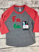 Load image into Gallery viewer, Christmas shirt for kids, christmas llama shirt, fa la la llama shirt