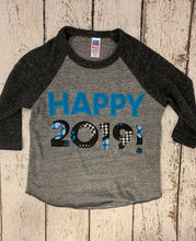 Load image into Gallery viewer, 2019 New Year's Shirt, Children's New Year outfit customize colors for boy or girl, 2019 shirt