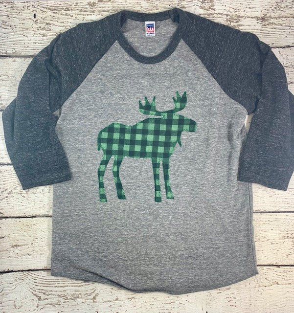 Buffalo plaid shirt for kids, moose outfit, plaid moose