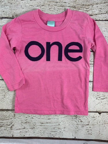 Ready to Ship girls first birthday shirt size 12/18 month, pink long sleeve shirt, one shirt