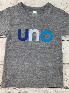 blue birthday theme, uno shirt, ombre