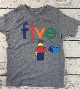 Blocks Shirt Organic Blend Birthday Tee Birthday Retro style building blocks boy's birthday shirt any age