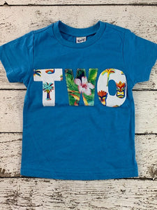 Luau Surf Birthday Tee tiki palm trees Shirt Blend boys birthday shirt surfing Hawaiian flowers beach theme Hawaiian