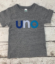 Load image into Gallery viewer, blue birthday theme, uno shirt, ombre