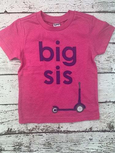 big sis shirt scooter shirt big sister big sis Sibling Shirt Little Sister Big Brother handmade Shirt purple pink birth announcement scooter